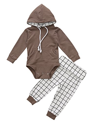 Newborn Baby Boy Long Sleeve Hooded Bodysuit Drawstring Romper with Pockets and Plaid Leggings Pants Outfit Set 06M Coffee