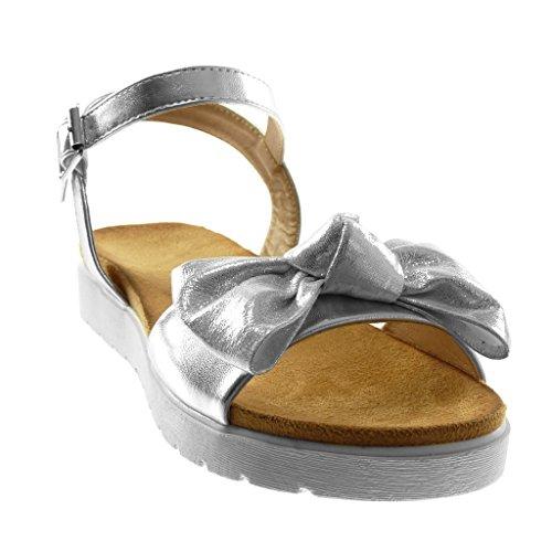 Angkorly Damen Schuhe Sandalen - Knöchelriemen - Sneaker Sohle - Knoten - Glänzende - String Tanga Flache Ferse 3 cm Silber