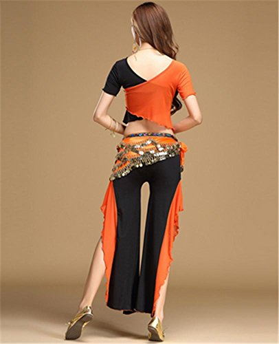 Femmes ventre orange pcs Vêtements black Vêtements 2 de du danse Performance danse de rnrI1qA