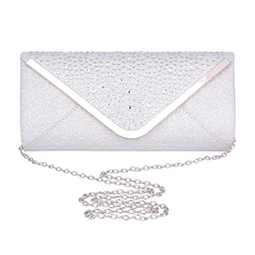 par Décoré Femme Noir Adoptfade Pochette Long Elégant Sac Blanc Diamant Mariage de Soirée HzHq6Tw