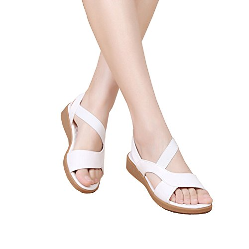 Hattie Women Elastic Strappy Leather Soft Flat Sandals White Hjsz7JSXDi
