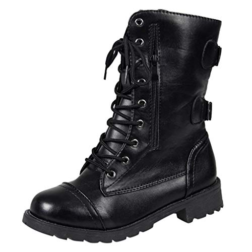 Leather Classic Boot,Londony Women Autumn Round Toe Lace Up Ankle Buckle Chunky Platform Knight Martin Boots Black ()