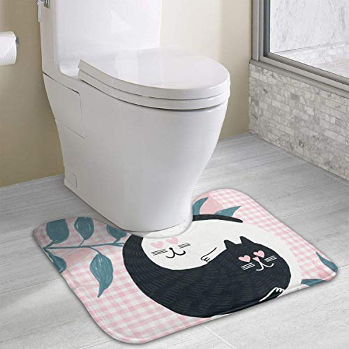 Dealbert White & Black Cats Fall in Love Contour Bath Rugs,U-Shaped Bath Mats,Soft Memory Foam Bathroom Carpet,Nonslip Toilet Floor Mat 19.2″x15.7″