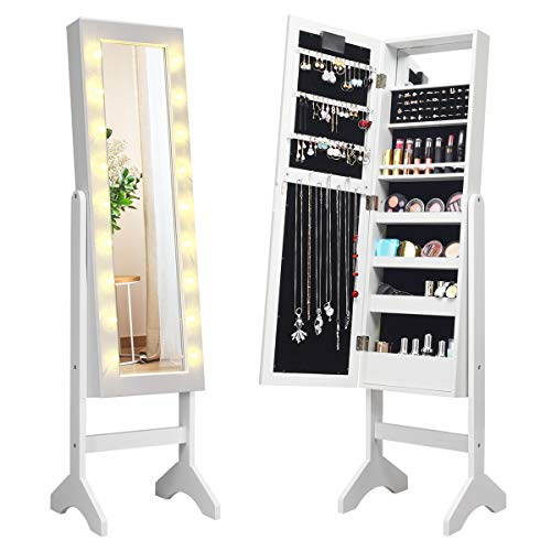 Giantex Standing Jewelry Armoire with 18 LED Lights Around The Door, Large -