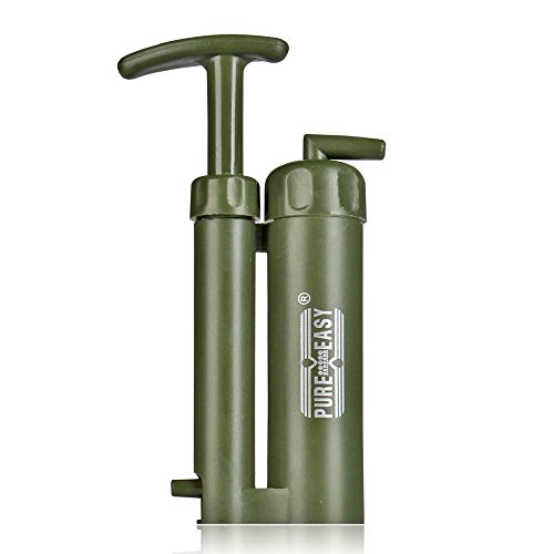 Flexzion Water Filter Purifier Absolute Filtration Purification System Kit Portable for Outdoor Emergency Survival Travelling Hiking Camping Fishing in Army Green by Flexzion