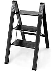 Asoopher 3 Step Ladder, Aluminum Folding Step Stool with Wide Anti-Slip Pedal, 330 Lbs Capacity, Lightweight & Portable Stepladder for Household and Office