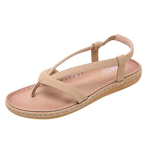 Xinantime Women's Comfortable Casual Beach Shoes Flats Platform Bohemian flip Flops Sandals Dress Shoes Beige ()