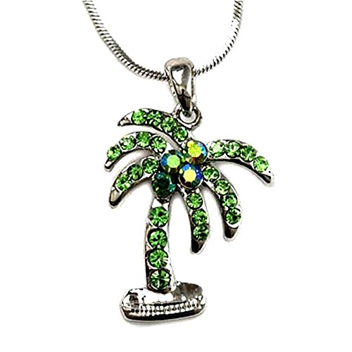 (DianaL Boutique Silver Tone Rhodium Plated Palm Tree Pendant Necklace 18