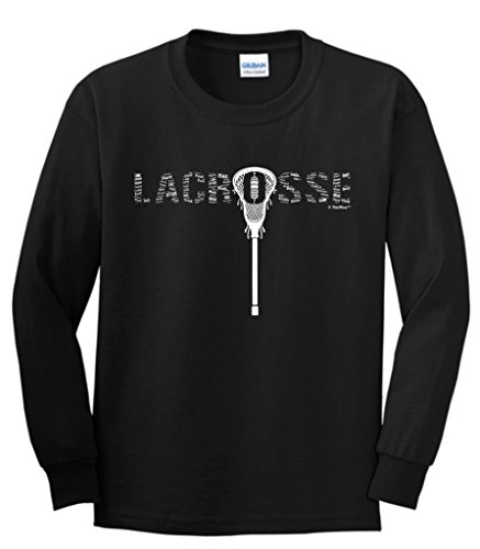 ft Lacrosse Word Collage Lacrosse Fan Gift Youth Long Sleeve T-Shirt Large Black ()