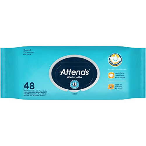 Attends Incontinence Care Scented Washcloths, 48 Count (Pack of 12)