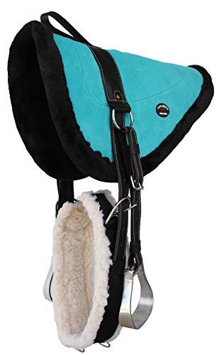 CHALLENGER Horse Western Suede Leather Saddle Bareback Pad w/Stirrups Turquoise 39140