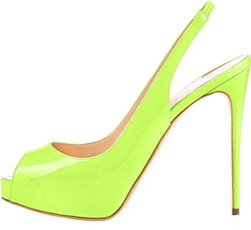 Trusify Mujer 12cm EU tamaño 34-46 Truwidow Tacón de aguja 12CM Sintético Sandalias de vestir Verde yellow