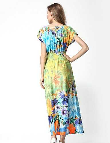 PU&PU Robe Aux femmes Gaine Street Chic,Fleur Col Arrondi Maxi Coton / Polyester , fuchsia-l , fuchsia-l