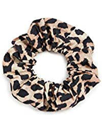 Women's Printed Cotton Poplin Scrunchie, Leopard, One Size
