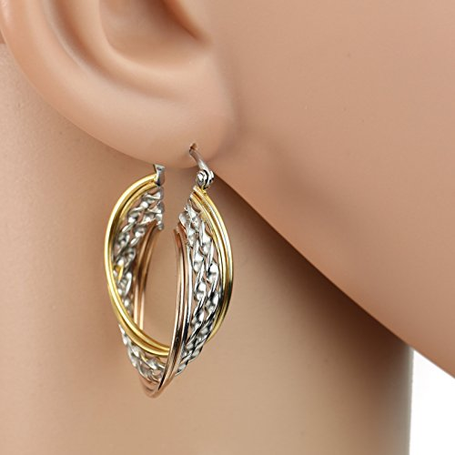 United Elegance - Contemporary Polished Twirled & Twisted Tri-Color Silver, Gold & Rose Tone Hoop Earrings from United Elegance