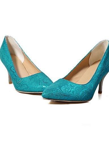 GGX/Damen Spikes Absätzen massiv Pull auf Spitz geschlossen Zehen pumps-shoes blue-us7.5 / eu38 / uk5.5 / cn38