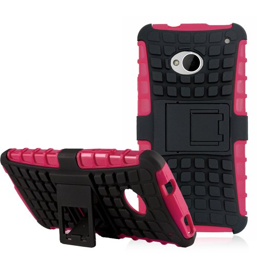 Mini Toughskin - JKase DIABLO Series Tough Rugged Dual Layer Protection Case Cover with Build in Stand for HTC One M7 - Retail Packaging (Hot Pink)