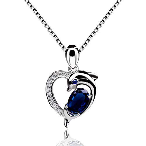 g Silver Blue Spinel Created Sapphire September Birthstone Dolphin Heart Pendant Necklace for Women Girls with Gift Box Y435 ()