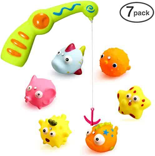 Ohuhu Children Kids Baby Fishing Bath Toy, Bath Water Toys A Magnetic Fishing Rod, 6 Sea Characters A Mesh Bag Storing Toys