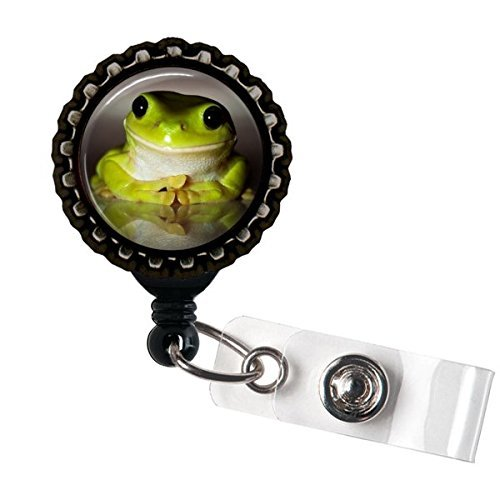 Frog Name Badge Holder Retractable Reel Bottle cap