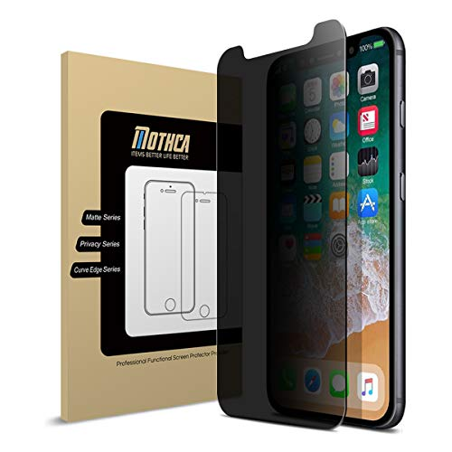 - [2 Pack] Mothca iPhone Xs Max Screen Protector Privacy [Case Friendly] Anti-Spy Tempered Glass Film No Problem with Brightness 3D Touch 9H Hardness Anti-Scratch Easy Application Bubble Free