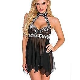 Women's Sleepwear Lace Sexy Lingerie for Women Backless Nightdress Underwear Viahwyt (XXL, Blcak)