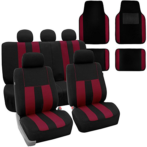 FH Group FH-FB036115 + F14407 Combo Set: Striking Striped Seat Covers with Premium Carpet Floor Mats Burgundy/Black Color- Fit Most Car, Truck, SUV, or Van