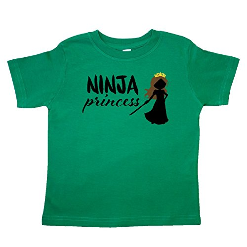 inktastic Ninja Princess-Brown Haired Toddler T-Shirt 4T Kelly Green Ninja Green T-shirt