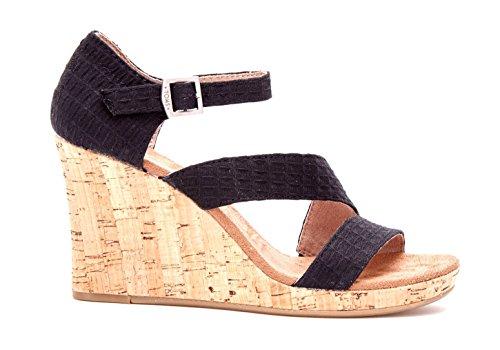 Toms Black Textile Cork Clarissa Wedges 10007808 (SIZE: 6)