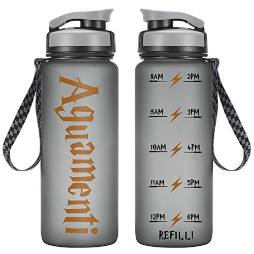 LEADO 24oz Motivational Tracking Water Bottle with Time Marker - Aguamenti HP Fans Merchandise - Funny Potterhead Birthday, Summer Gifts for Women, Men, Kids, Girls, Daughter, Son - Drink More Water (Bff Water Bottles)
