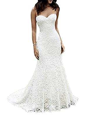 Eldecey Women's Strapless A Line Lace Applique Long Backless Wedding Dress