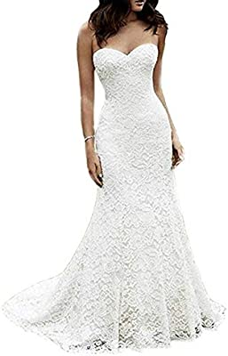Eldecey Women S Lace Beach Wedding Dress Long Boho Floor Length