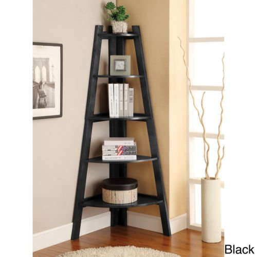 Corner Ladder Bookcase (5-tier Corner Ladder Display Bookcase BLACK. Has a lovely finish and keeps everything organized. Durable Bookcase.)