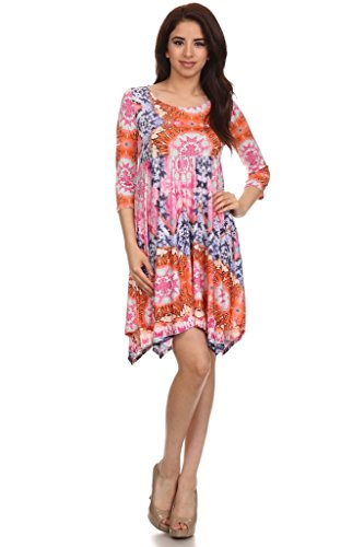 (Plus Size) Printed Knee Length Asymmetric Hem Dress (MADE IN U.S.A)