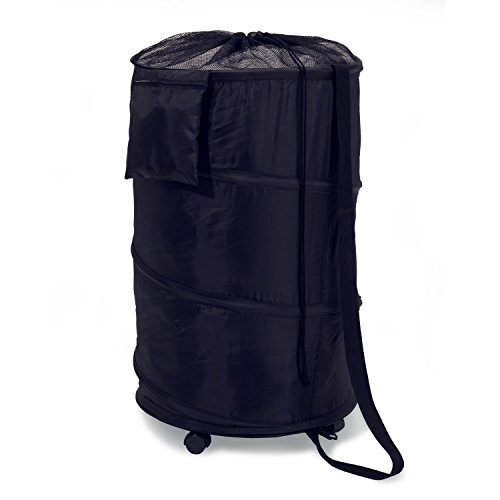 Deluxe Laundry Hamper - Honey-Can-Do HMP-01454 Deluxe Nylon Pop Up Clothing Hamper on Wheels Black 27 inches x 18.5 inches