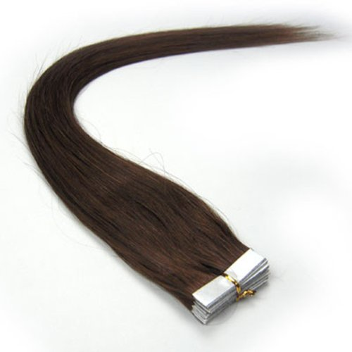 """20 Pcs 18"""" inches 80g Remy Seamless Tape Skin weft Human Hair Extensions Color # 4 Medium Brown"""