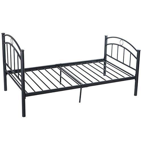 "Heavy Duty Black Metal Bed Frame Platform Twin Size 83""x42""x35"" With Ebook"