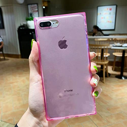 Tzomsze iPhone 7 Plus Transparent Square Case iPhone 8 Plus Case Reinforced Corners TPU Cushion,Crystal Clear Slim Shock Absorption TPU Silicone Shell-Pink