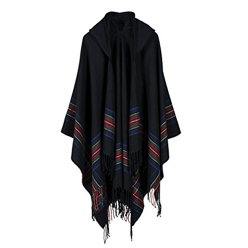 DJB Women's Hooded Stripe Tassel Open Open front Poncho Cape Cardigan Wrap Shawl