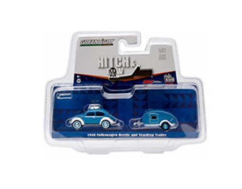 1:64 HITCH & TOW V-DUB 1948 VW BEETLE & TEARDROP TRAILER BLUE ( NEW TOOLING ) 51035-A BY GREENLIGHT