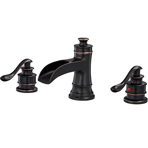 Bathlavish Waterfall Widespread Bathroom Sink Faucet 8-16 Inch 3 Holes 2 Handles Vanity Basin Lavatory Oil Rubbed Bronze Black Mixer Tap Commercial Waterline Lead-Free