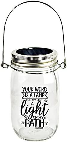 Dexsa Solar Canning Jar LED Light – Automatic and Safe, Illuminates Using Solar Power, Solar Panel, LED Glow Modern Farmhouse Your Word is a lamp for My feet, a Light on My Path. Psalm 119 105