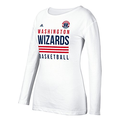 fan products of NBA Washington Wizards Women's 3 Stripe Stack Long Sleeve Crew Tee, Large, White