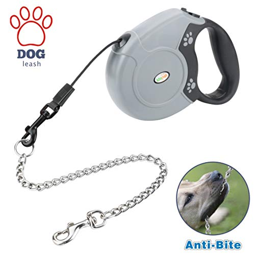 Idepet Heavy Duty Retractable Dog Leash for Small and Medium Dogs, Anti-Chewing Steel Chain Design,360°Tangle-Free,Break & Lock System,16ft Leash for Dog Walking (Black-Round Rope) (Dog Leash 16 Feet)
