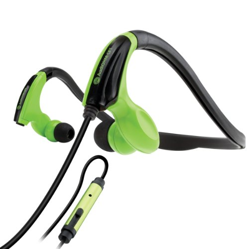 AudiOHM CFT Fitness Headphones with In-Line Microphone for Handsfree Calling and Flexible Neckband (Green) by GOgroove - Works with Apple iPhone 6s , HTC One M10 , Samsung Galaxy S7 and More