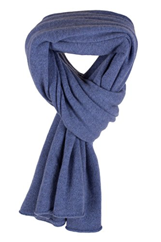 Women's 100% Cashmere Wrap Scarf - Denim Blue - hand made in Scotland by Love Cashmere RRP 350