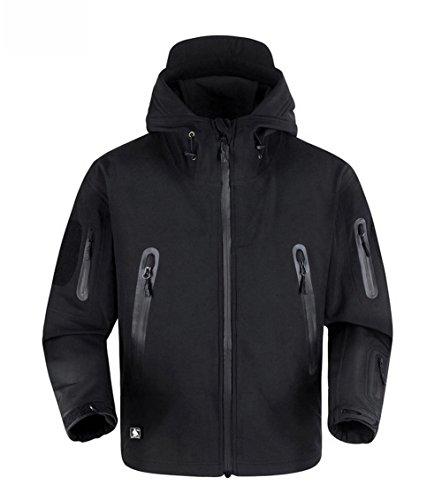 Reebow Gear Army Tactical Soft Shell Outdoor Waterproof Hooded Jacket Black XXXL