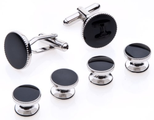 Button Stud Set (Cufflinks and Studs Set for Tuxedo - Formal Black with Shiny Silver Trimming by Men's Collections)