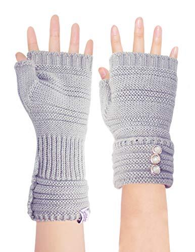 (Dahlia Women's Knit Fingerless Gloves, Hand & Wrist Warmer, Adjustable,)