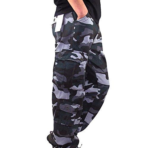 Allentati Da Casual Camuffamento Stile pantaloni Work Sportivi Taglia Tasche Grande Pantaloni Uomo Laterali Tuta Landfox Sport Blu Lavoro Pocket Cargo wFtOw